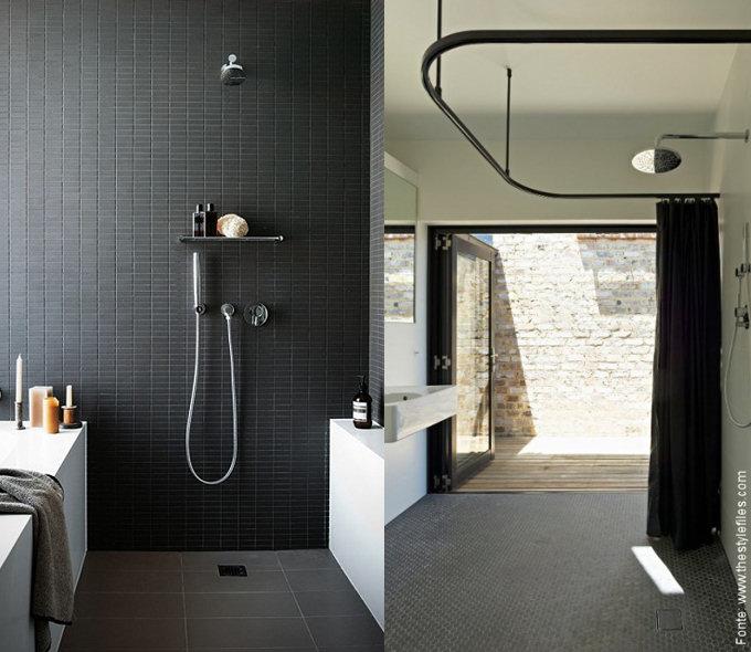 Inspiração banheiros  Passeio  Revestimentos e Sensações -> Banheiro Com Banheira Preta
