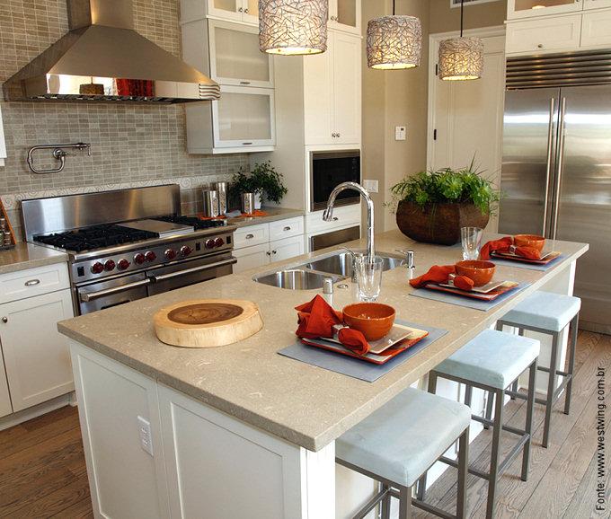 Bancada de cozinha americana + pendentes um clássico  Passeio  Revestiment # Bancadas De Cozinha Com Pendentes