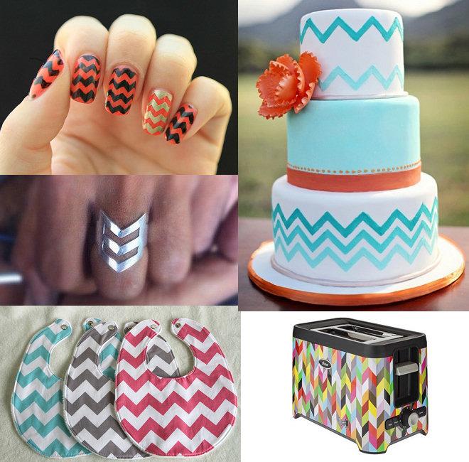 """Alguns usos mais """"exóticos"""" da estampa: sobre unhas, em forma de anel, em babadores de bebês, num bolo de casamento e até em uma torradeira!"""